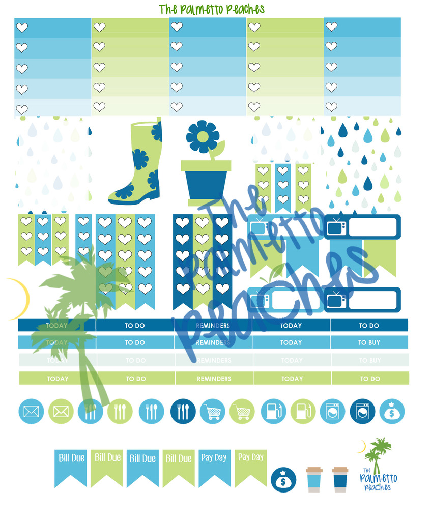 April Showers - April Planner Printable - The Palmetto Peaches - palmsinatl.com