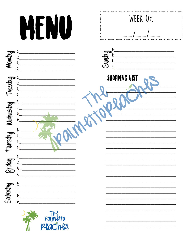 Menu Planner (November Printable)- The Palmetto Peaches - palmsinatl.com